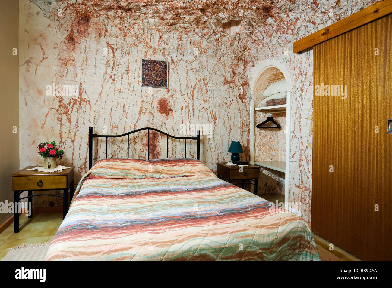 Underground room at Radeka's Downunder Dugout Motel. Coober Pedy, South Australia, AUSTRALIA - Stock Image
