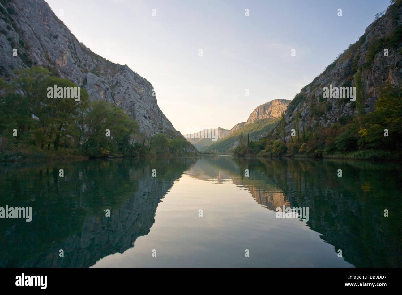 Cetina River in late summer sunshine Omis Dalmatian Coast Croatia Dalmatia - Stock Image