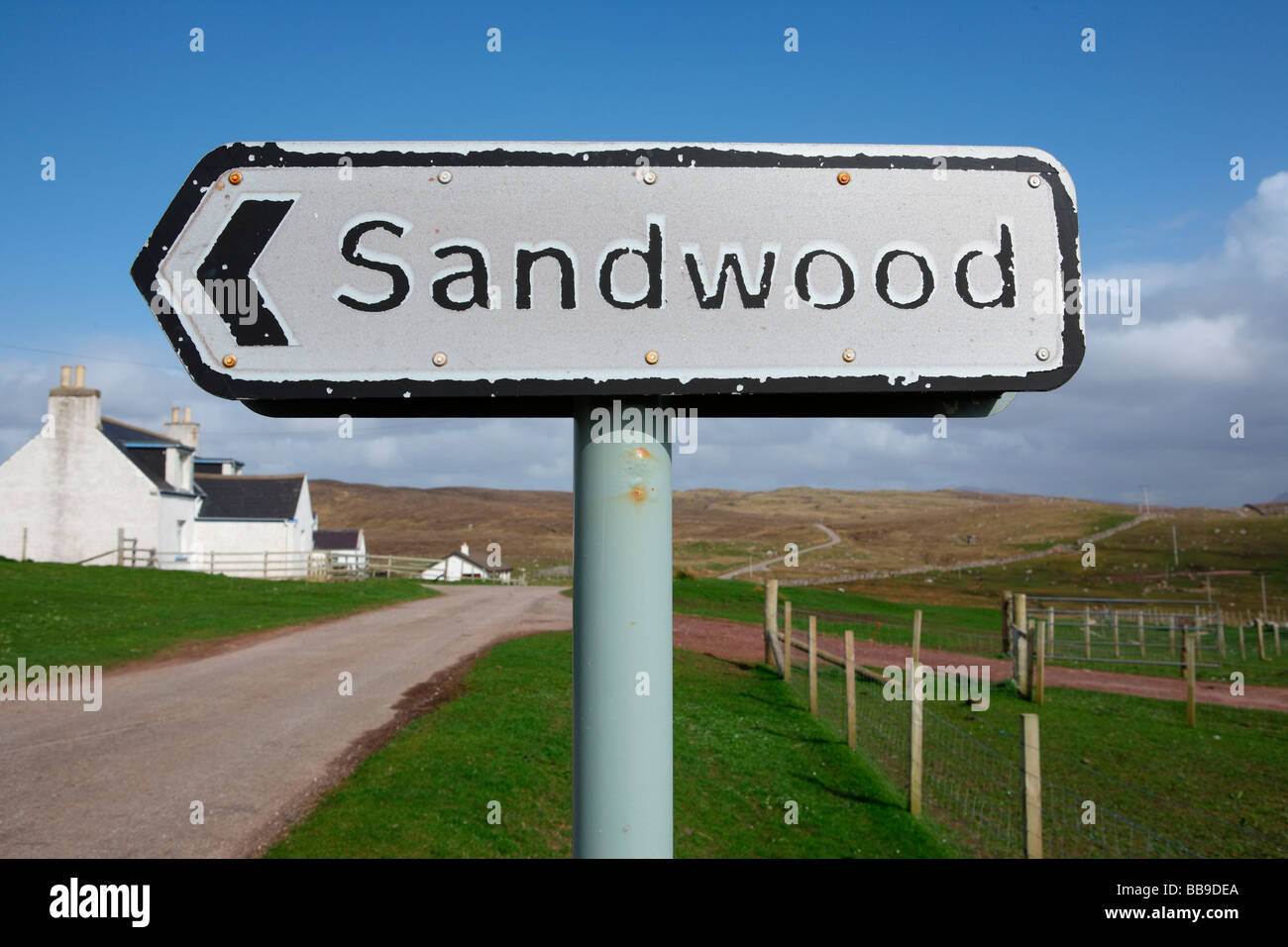 road sign directing to Sandwood Bay most remote beach in UK Sutherland Northern Scotland Great Britain UK - Stock Image