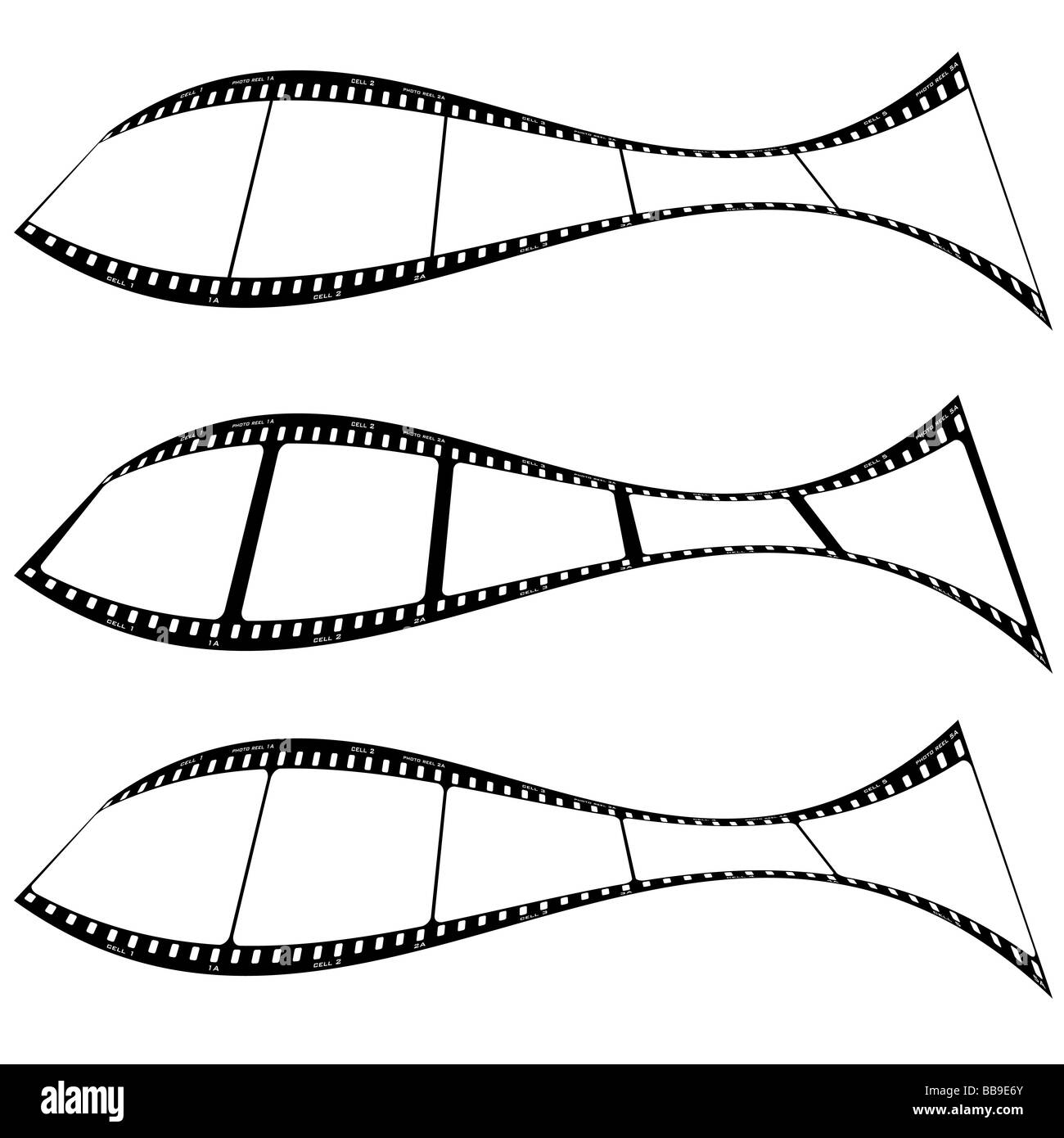 Film strips warped into a fish shape with room for your own images - Stock Image