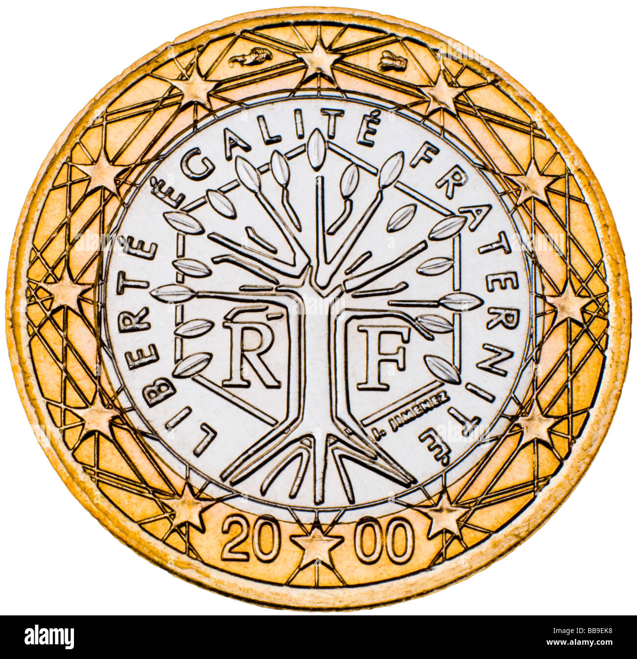 French 1 Euro Coin reverse - Stock Image
