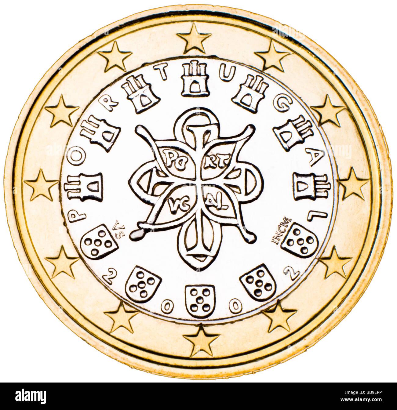 Portuguese 1 Euro Coin reverse - Stock Image