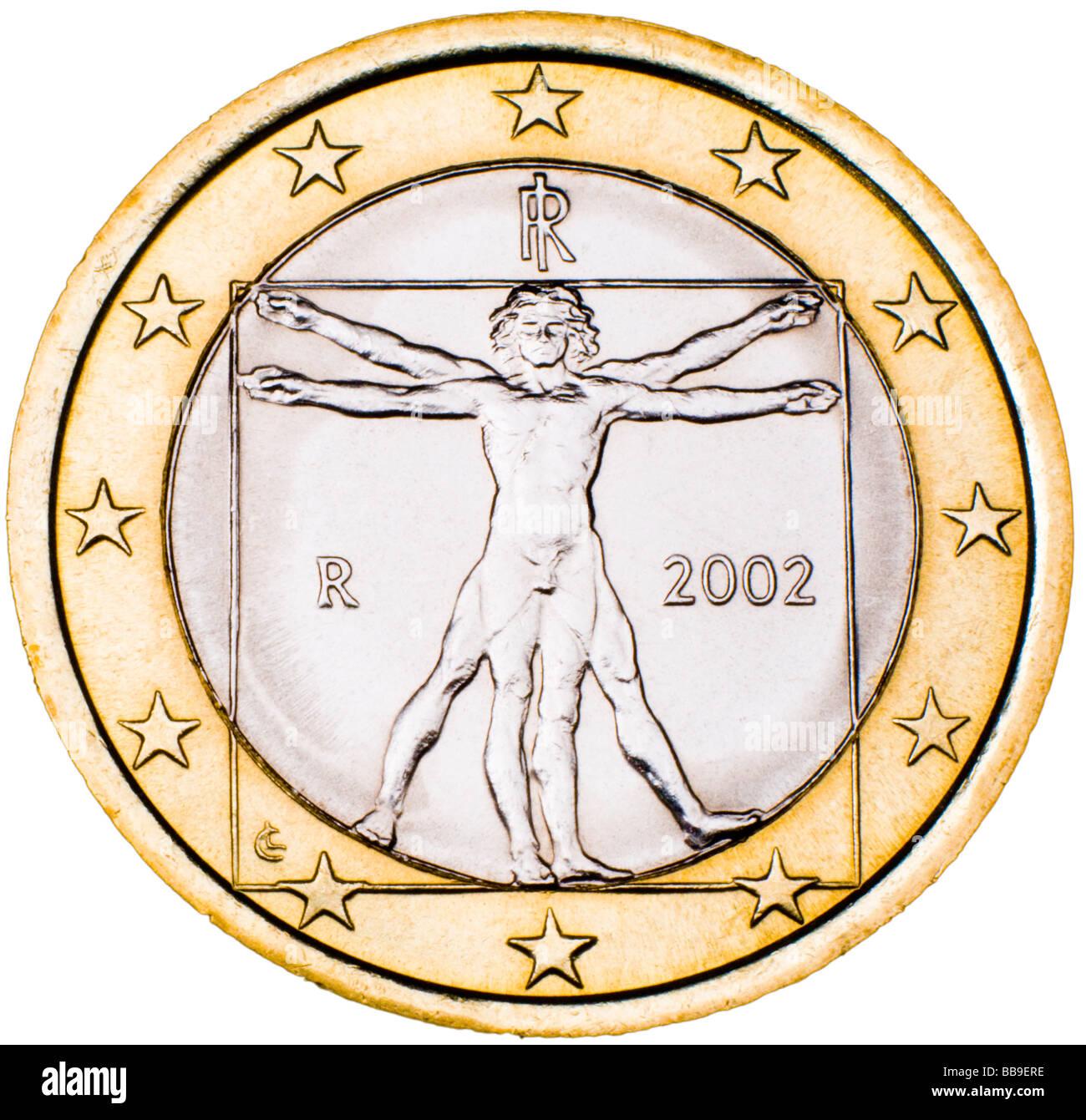Italian 1 Euro Coin reverse - Stock Image