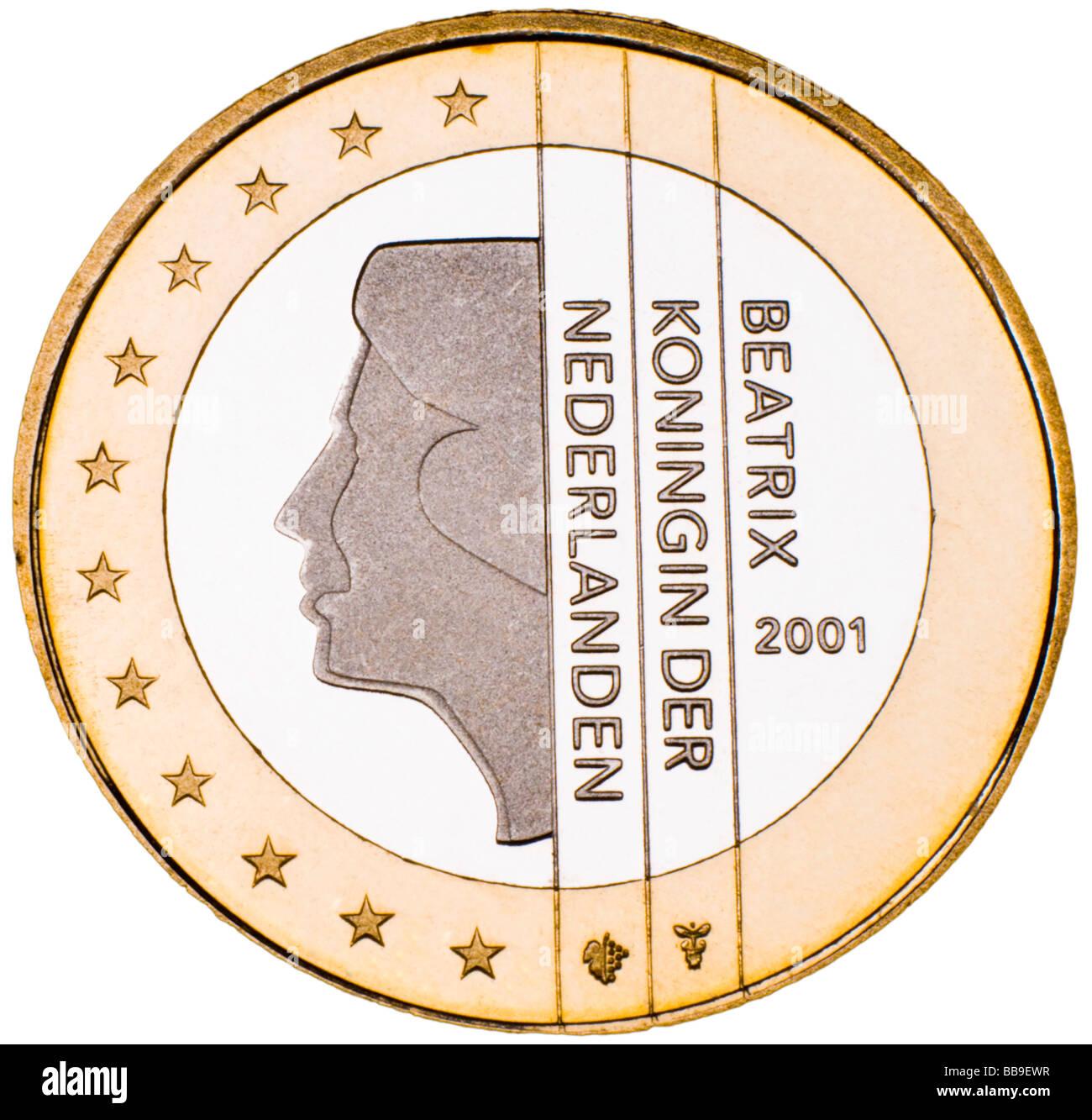 Dutch 1 Euro Coin reverse - Stock Image