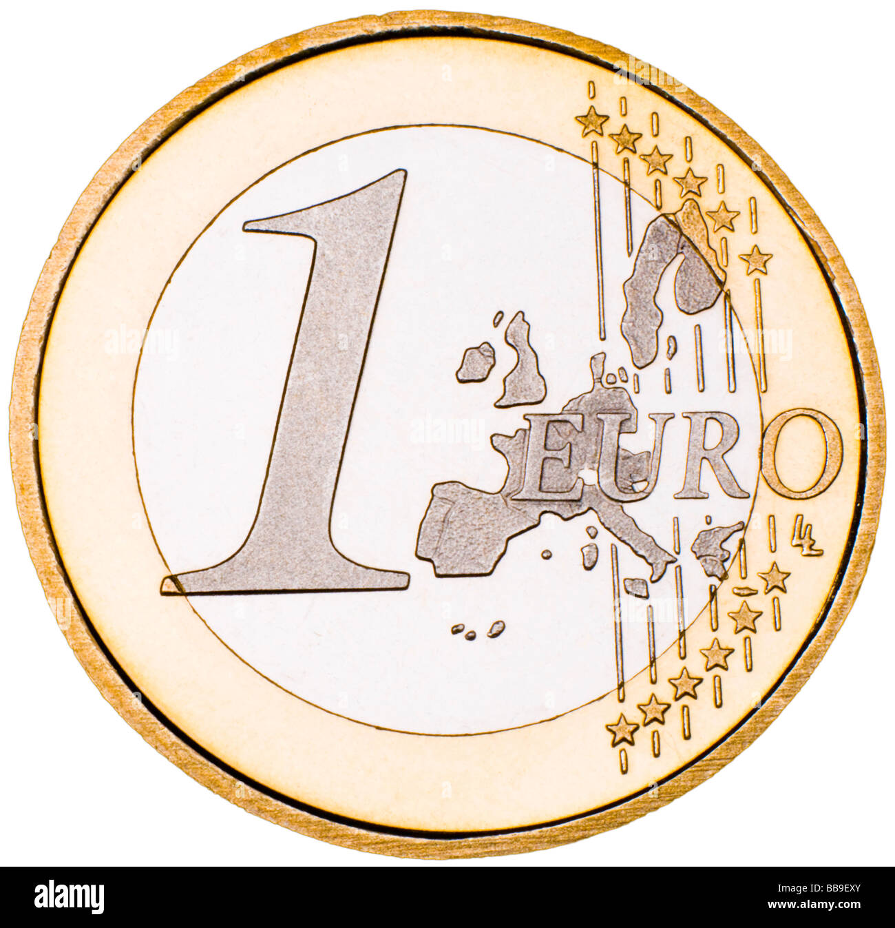 1 Euro Coin obverse - Stock Image