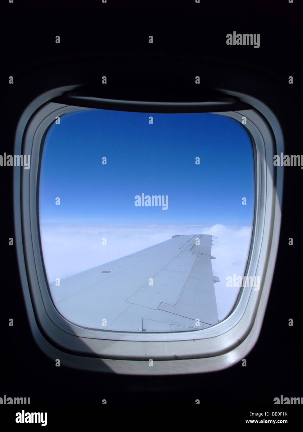 Looking out of the window on an Embraer ERJ 145 airplane Stock Photo