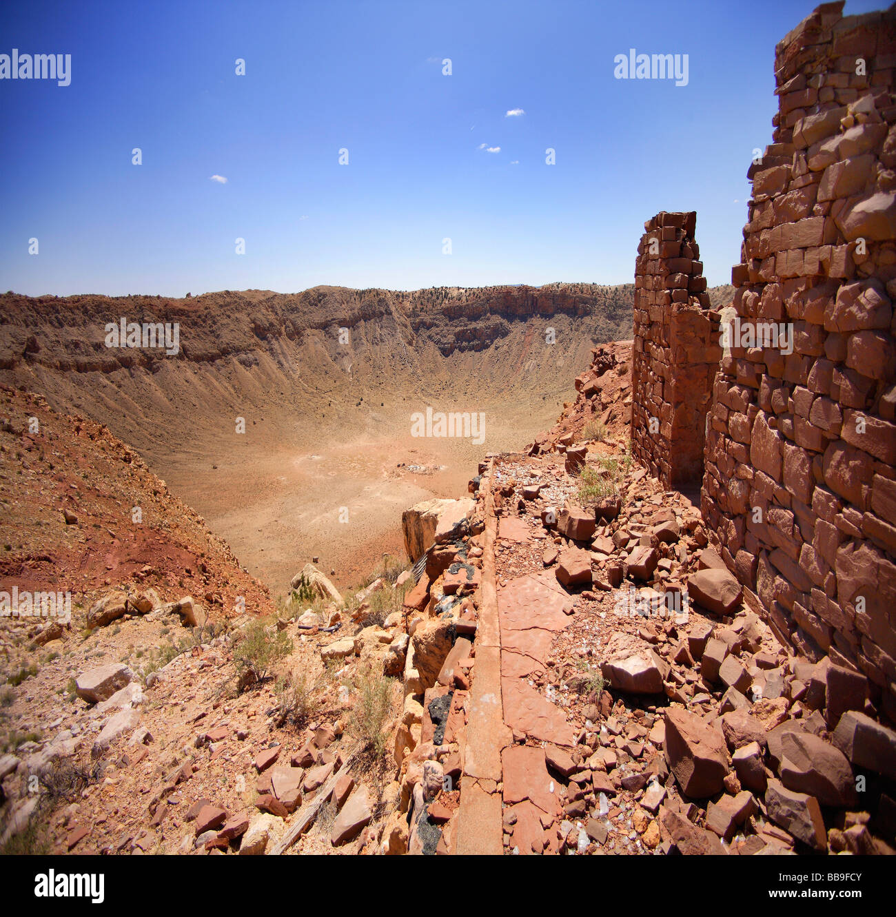 square image of crater and mine house,Arizona,usa - Stock Image