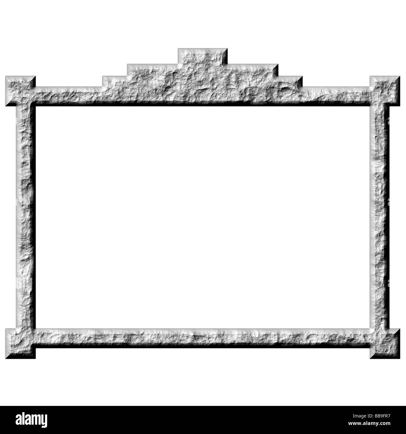 3d stone frame - Stock Image