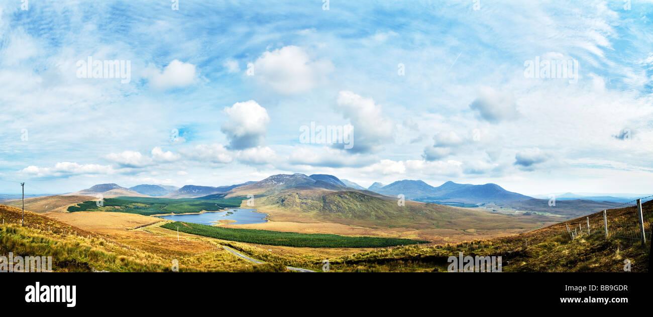 Panoramic image of The Twelve Bens Mountain Range, Connemara, Galway in the west of Ireland - Stock Image