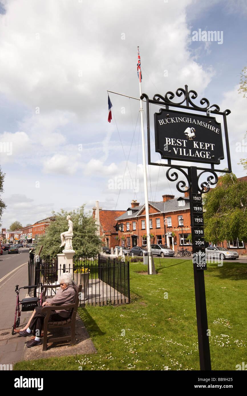 England Buckinghamshire Marlow High Street Best Kept Village winner plaques - Stock Image