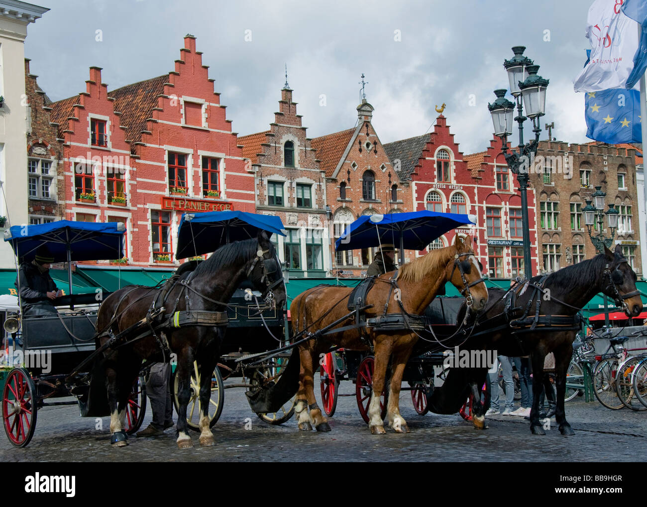 Horses and Carriages Brugge Belgium - Stock Image