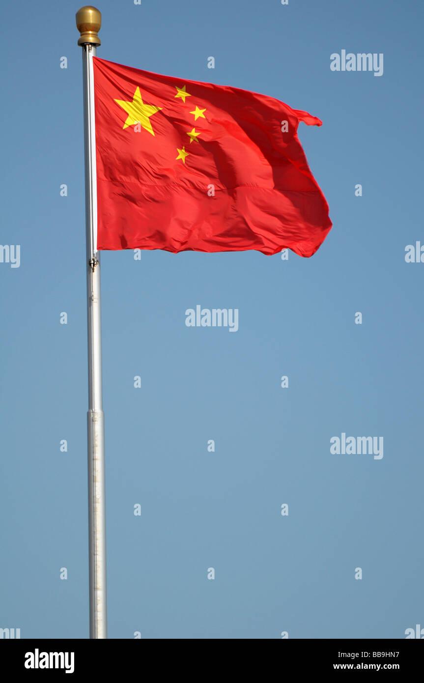 China Flag on Tiananmen Square. - Stock Image