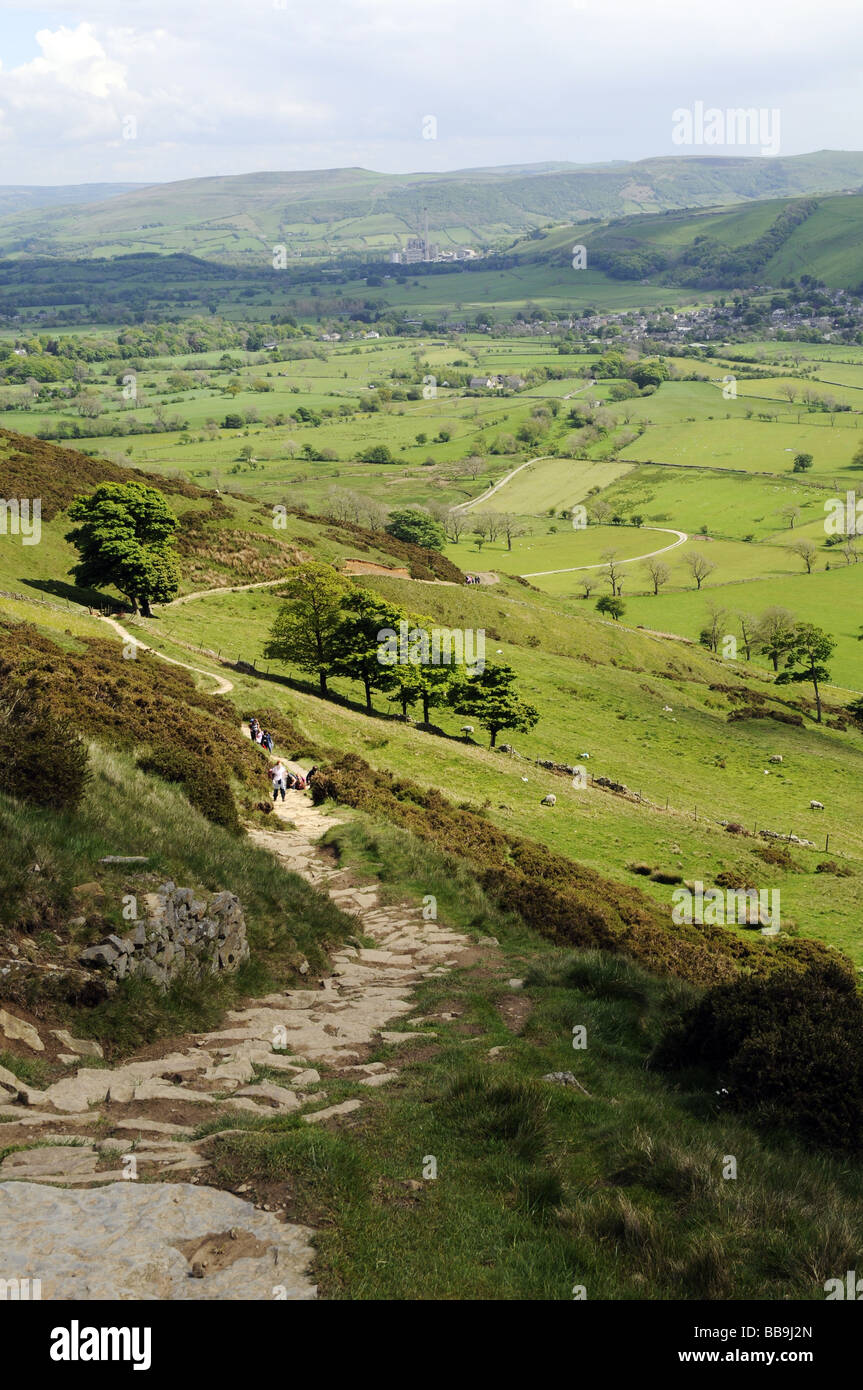 Looking towards Castleton in the Peak District, England, UK (from Hollins Cross). Stock Photo