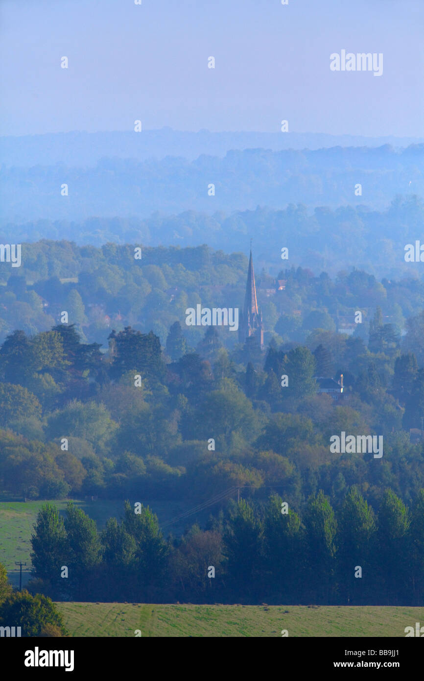 Dorking church spire distant view, Surrey - Stock Image