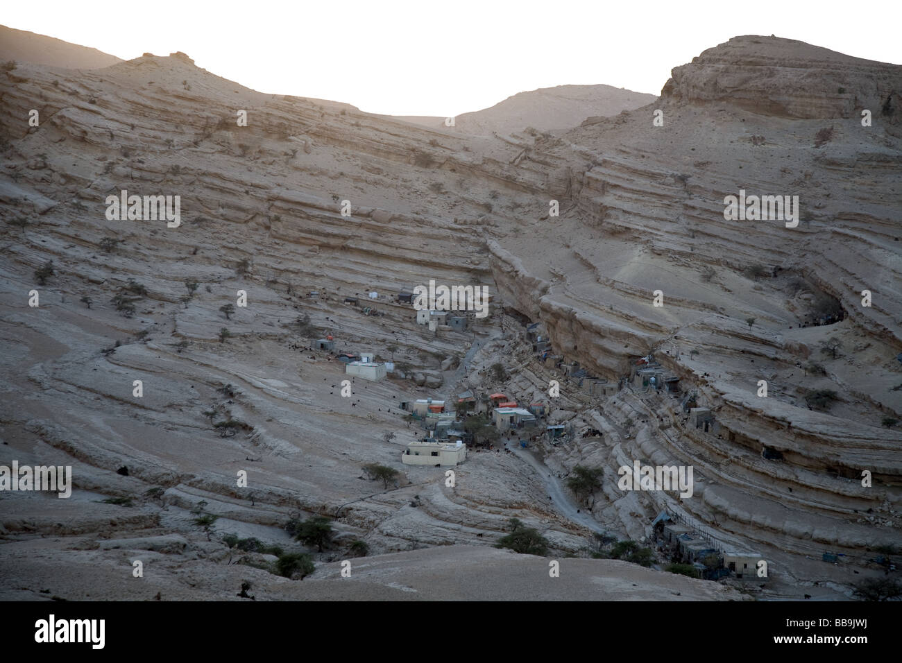 Qoran, a small remote village with few houses inside the karst formation of the Selmeh Selma Salmah Plateau Stock Photo