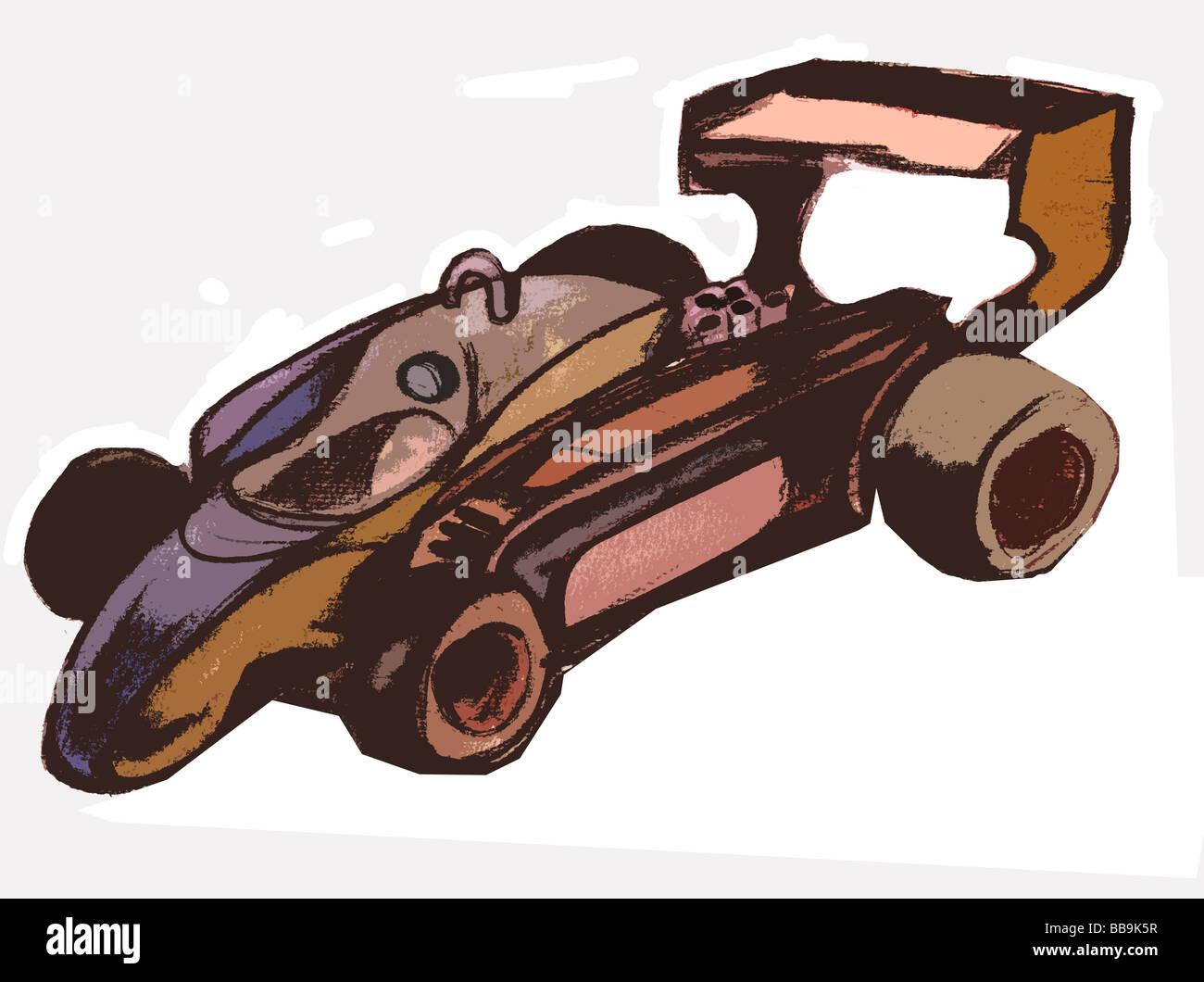sketch of a formula 1 car - Stock Image