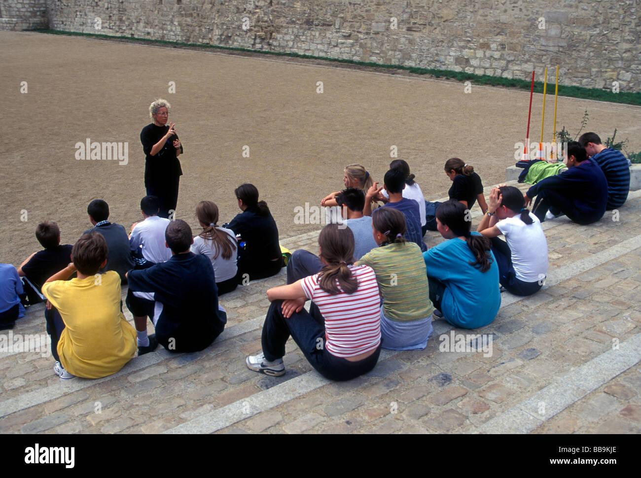 gym class, students, teacher, professor, Lycee Charlemagne, Marais District, Paris, Ile-de-France, France, Europe - Stock Image