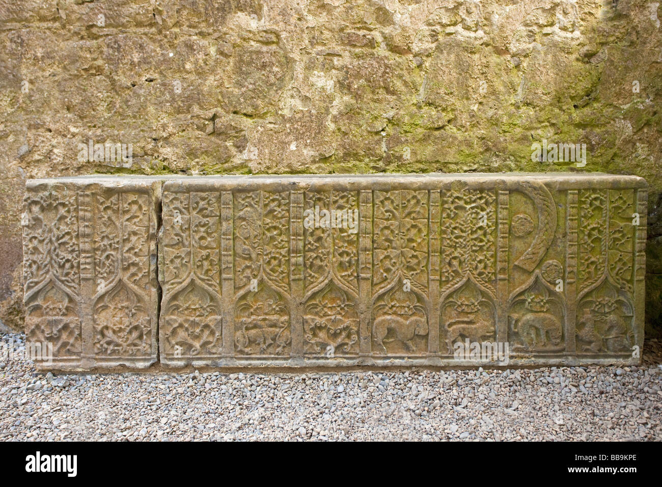 Stone carving from tomb in North transept of Cathedral Rock of Cashel County Tipperary Ireland Eire Irish Republic - Stock Image