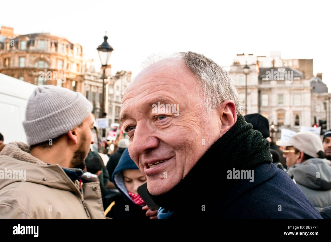 Former Mayor of London, Ken Livingstone is giving his support to protesters on Trafalgar square - Stock Image
