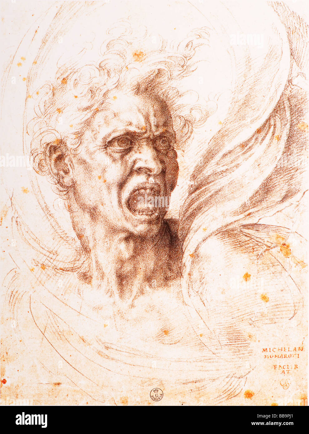 The Damned Soul by Michelangelo 1525 black ink - Stock Image
