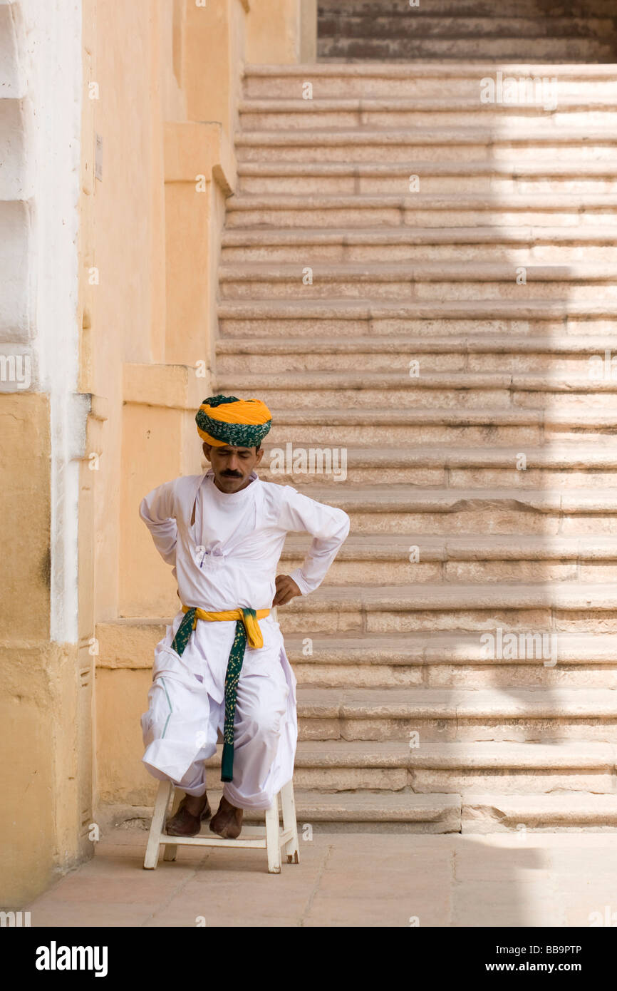 India Rajasthan Jodhpur Mehrangarh fort Interior of the fort guard in traditional clothes - Stock Image
