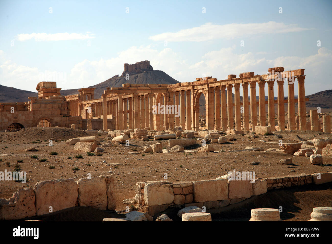 Monumental arch and colonnaded street Palmyra Syria - Stock Image