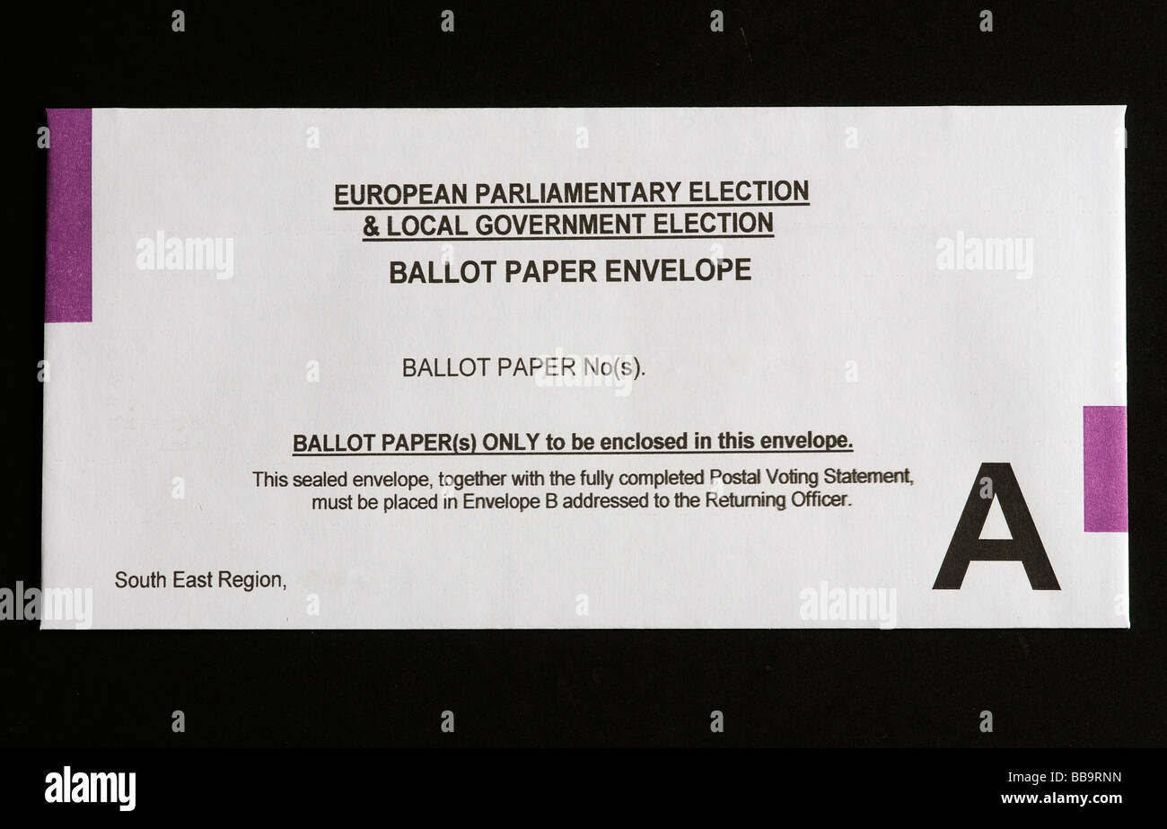 Postal voters ballot papers envelope for the European Parliament and Local Government Election - Stock Image