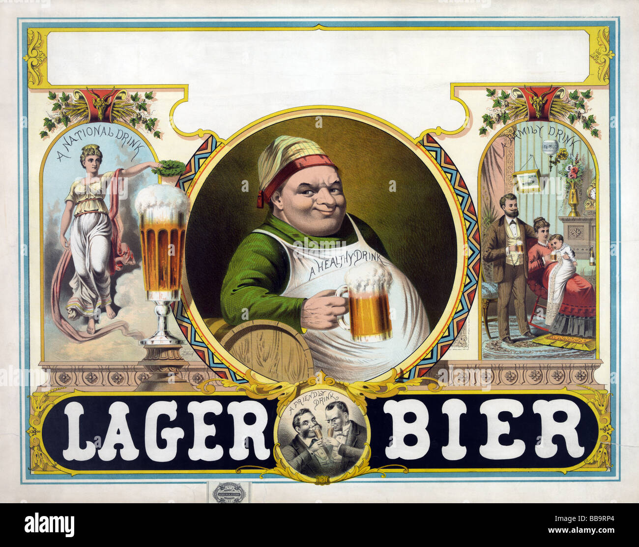 Late nineteenth century (circa 1879) lithograph poster advertising Lager Bier. - Stock Image