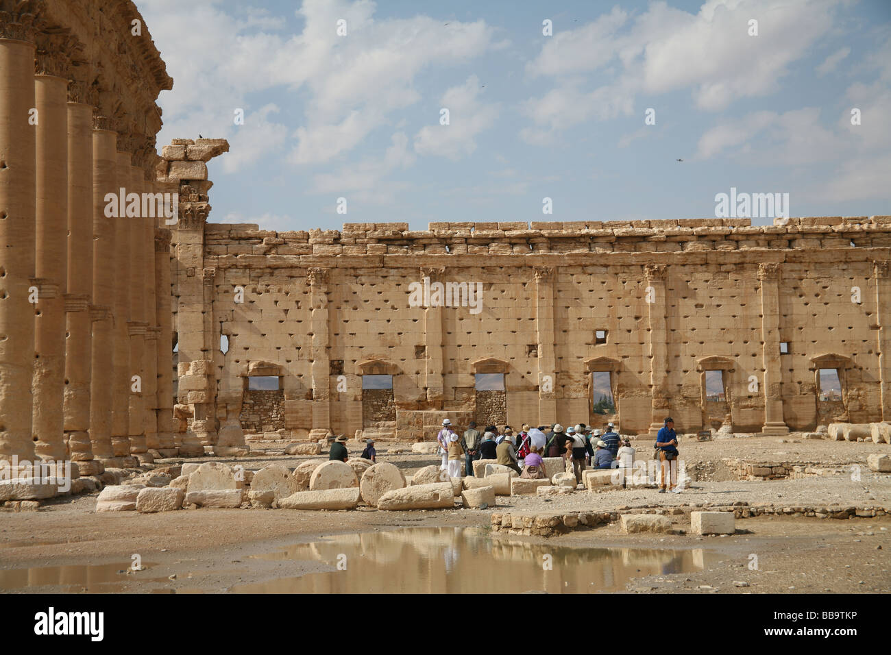 Temple Of Bel Roman Ruins With A Tour Group Palmyra Syria Stock