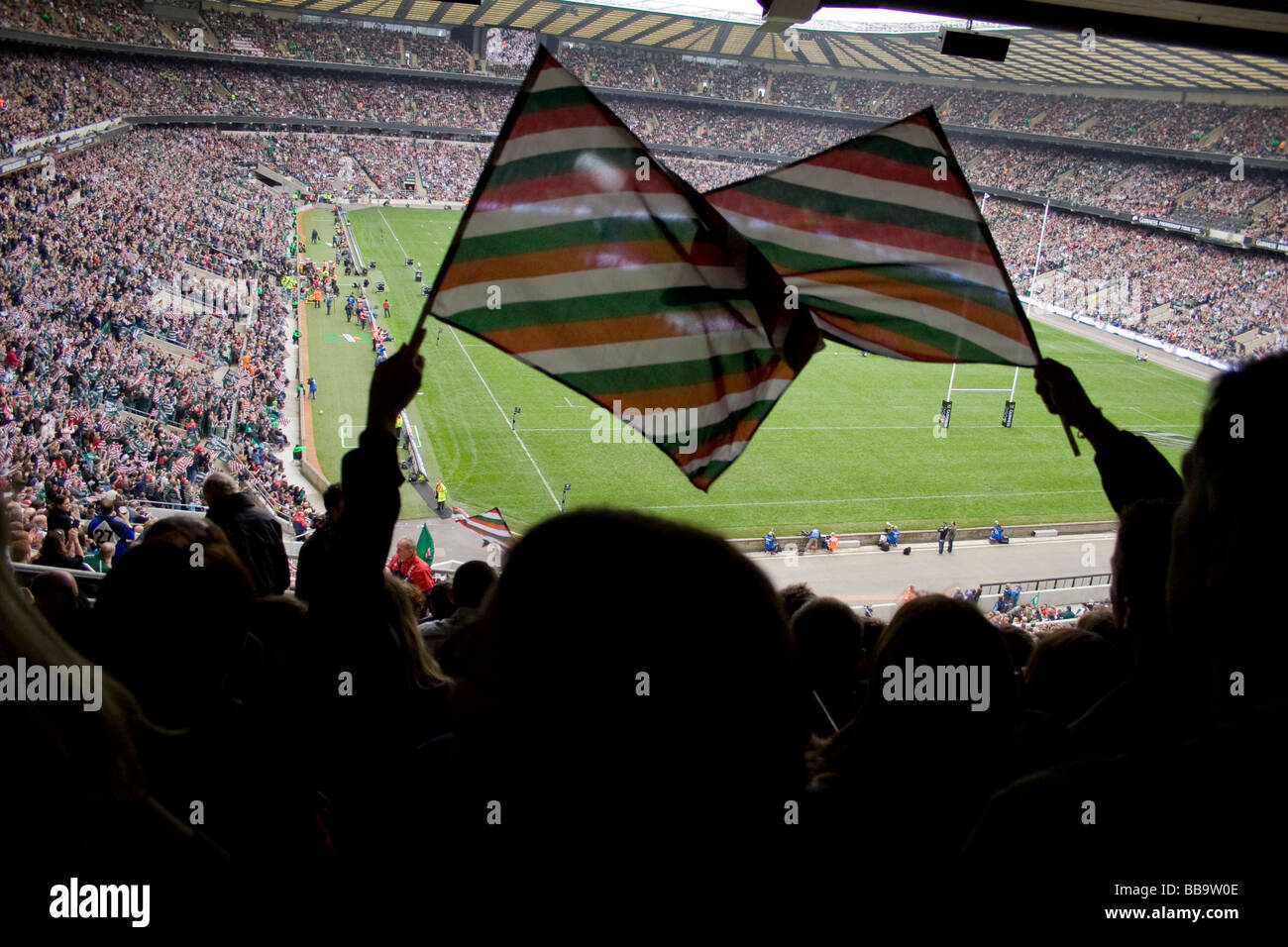 Two Leicester Tigers fans at the Guinness Premiership final in Twickenham stadium 2009. Stock Photo
