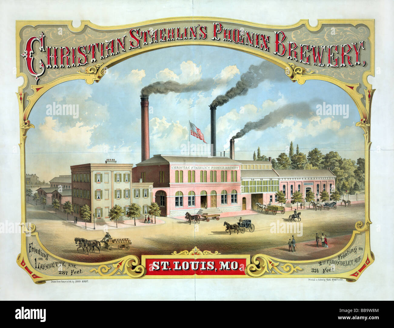 Late nineteenth century lithograph poster advertising Christian Staehlin's Phoenix Brewery, of St Louis, Missouri. - Stock Image
