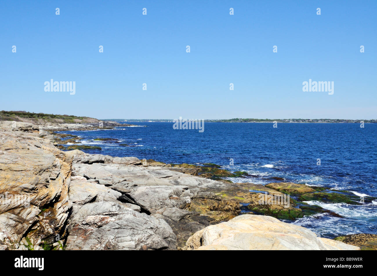 Scenic rocky coastline of Jamestown Rhode Island in Beavertail State Park Stock Photo
