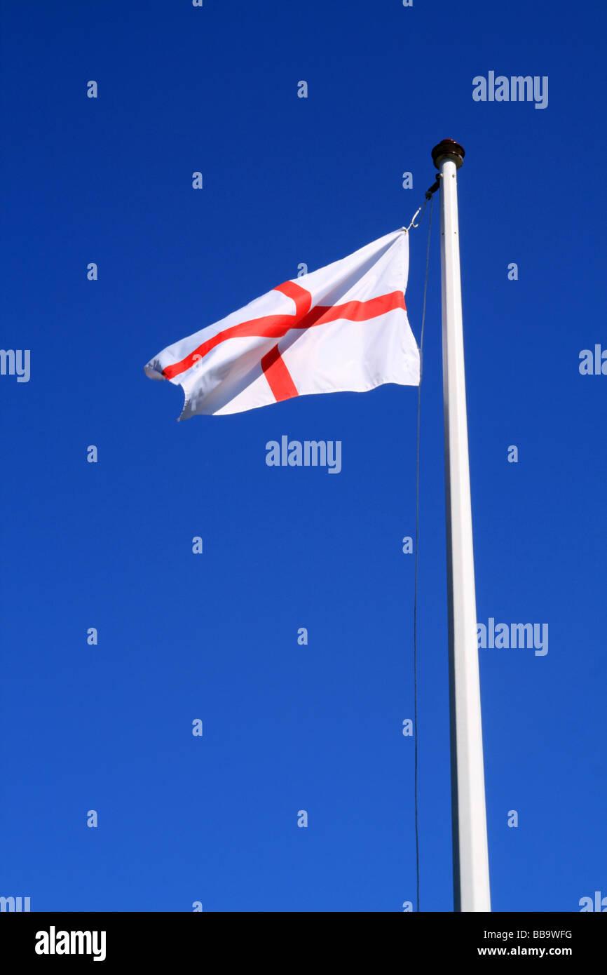 Saint Georges Flag (English National Flag) on Flagpole - Stock Image