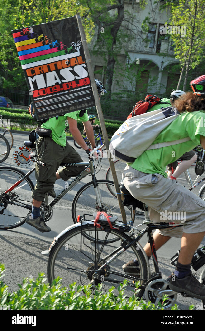The Critical Mass Bicycle Ride in Budapest Hungary - Stock Image