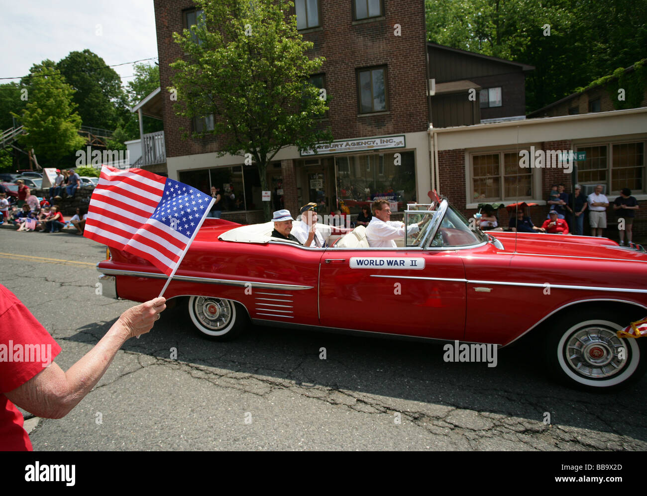 WWII Veterans honored during a Memorial Day Parade in Seymour Connecticut USA - Stock Image