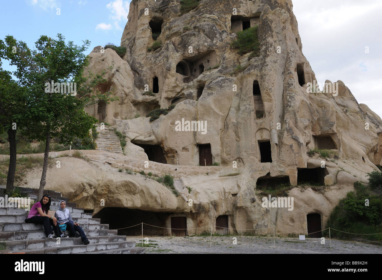 Dwellings and churches at the Goreme Open Air Museum in Cappadocia were hollowed out of volcanic rock between A. - Stock Image
