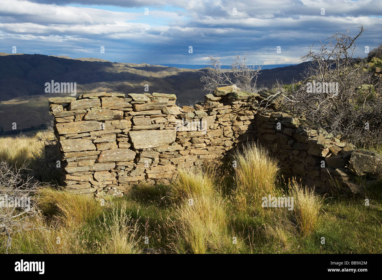 Remnants of Miners Cottage Carricktown Carrick Range Central Otago South Island New Zealand Stock Photo