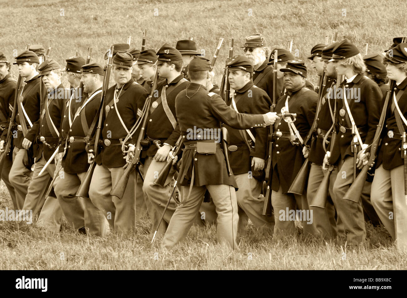 American Civil War - Union Troops - sepia tones - Stock Image