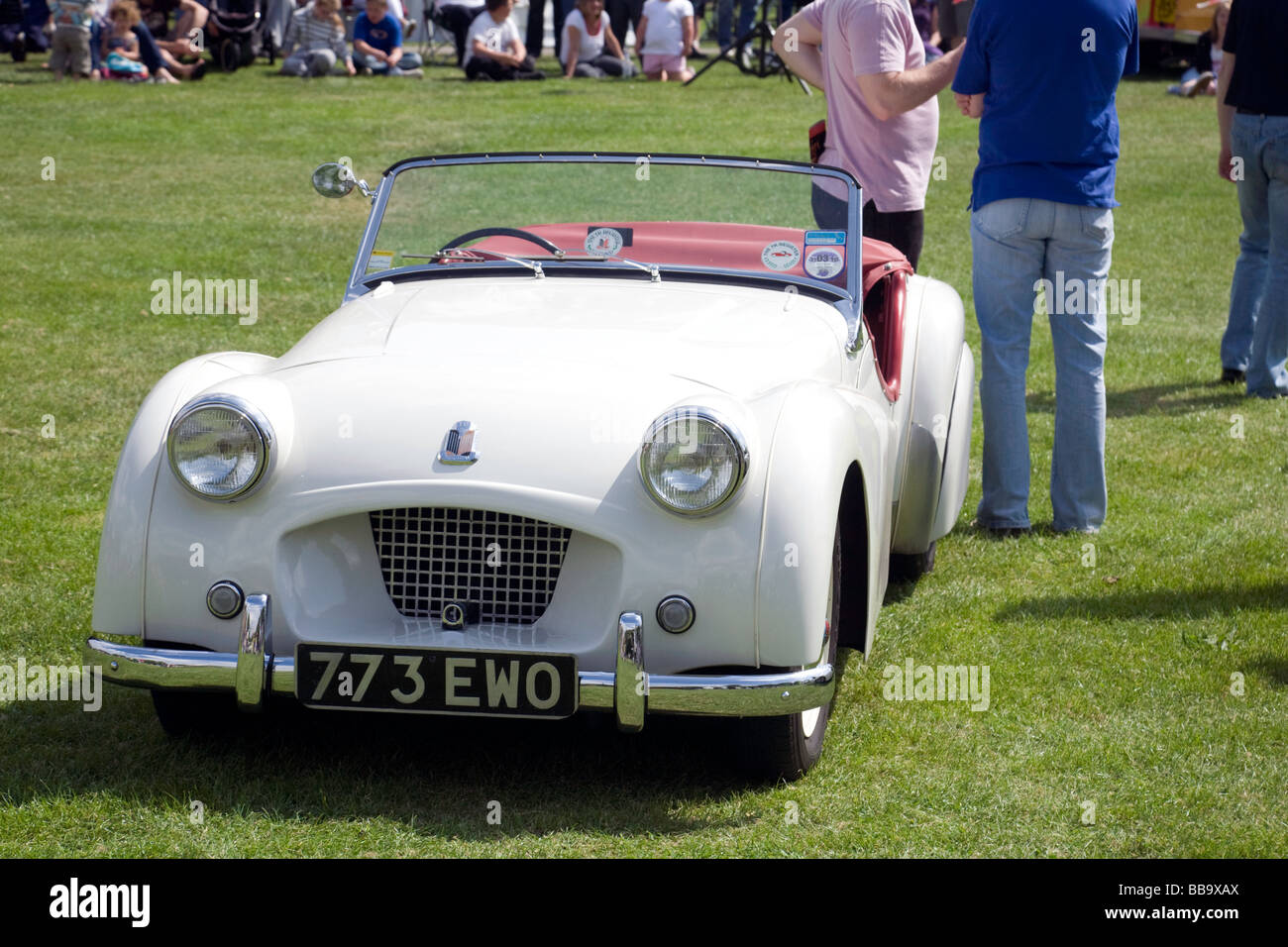 The TS2, the second Triumph TR sports car to ever be built; at the Wallingford Classic Car rally, Oxfordshire, UK - Stock Image