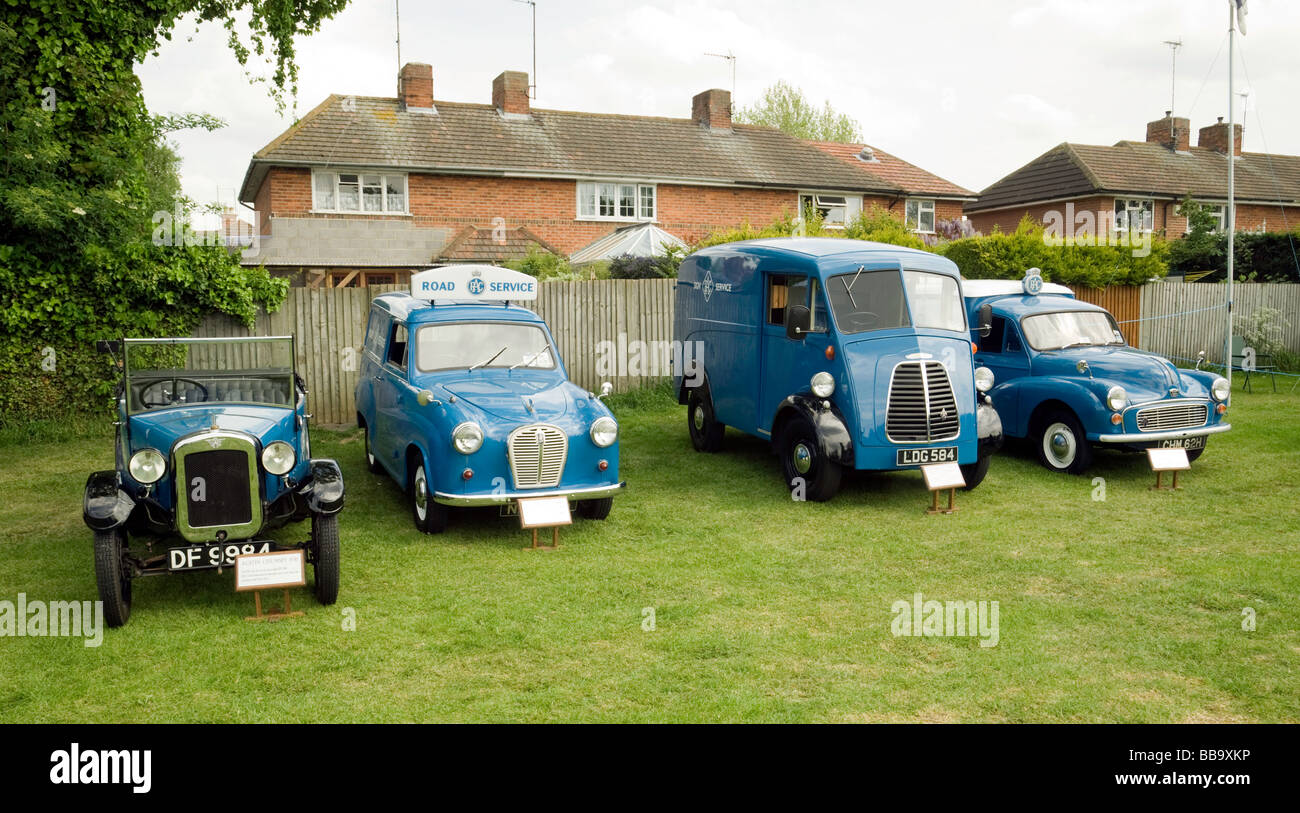 Four old RAC rescue vehicles through the ages; The Wallingford Classic car rally, Oxfordshire, UK - Stock Image