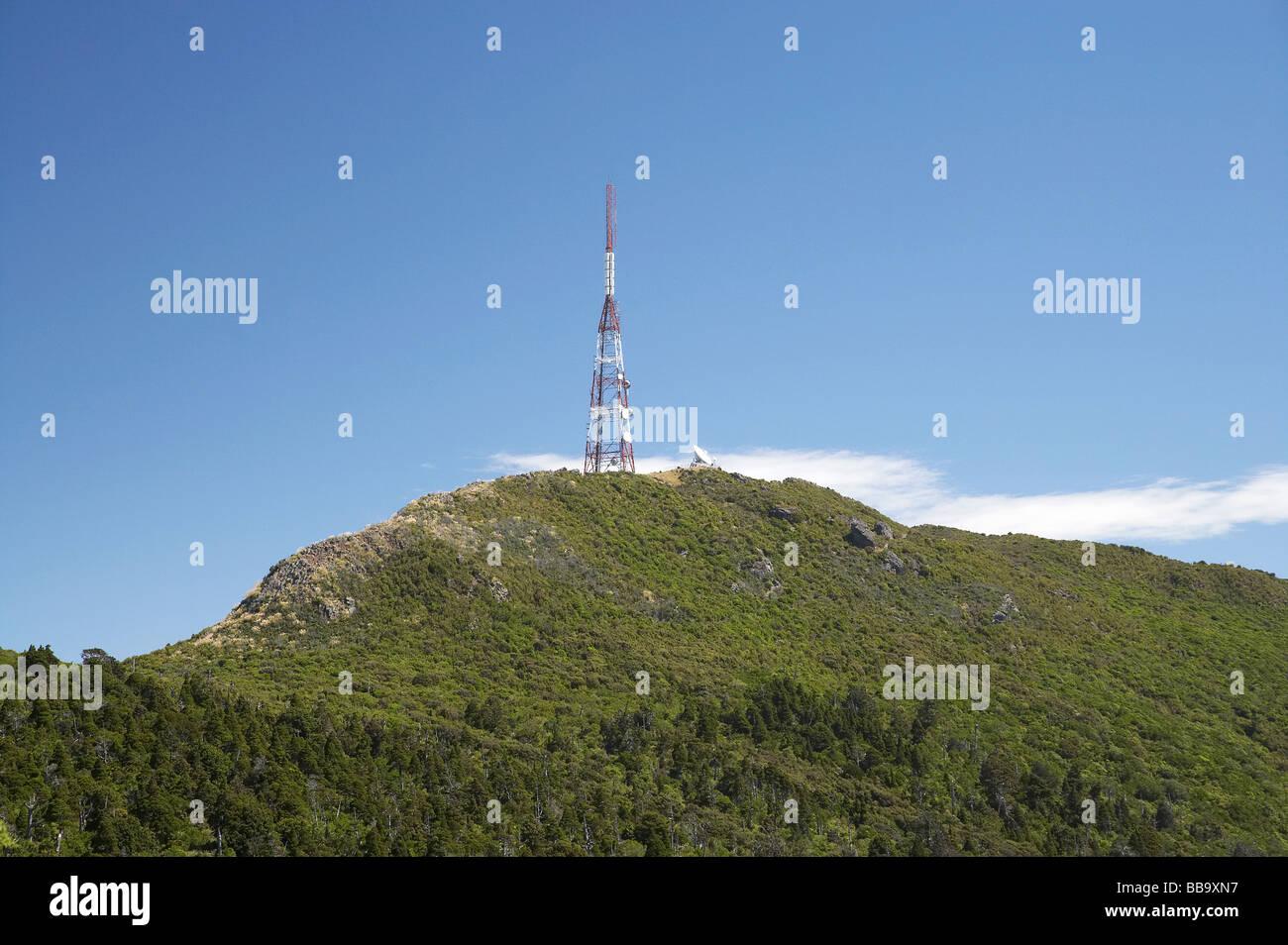 TV Mast Mt Cargill Dunedin Otago South Island New Zealand - Stock Image