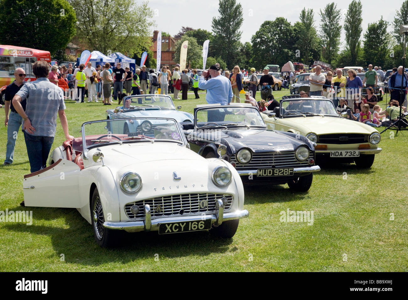 Triumph TR cars at the Wallingford Classic Car rally, Oxfordshire, UK - the TR3, TR5 and TR6 - Stock Image