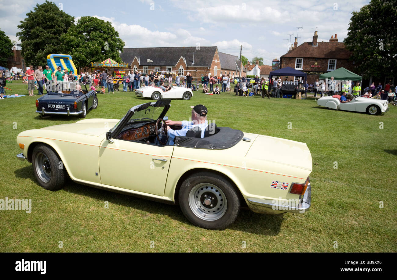Triumph TR6 and other TR cars at the Wallingford Classic Car rally, Oxfordshire, UK - Stock Image
