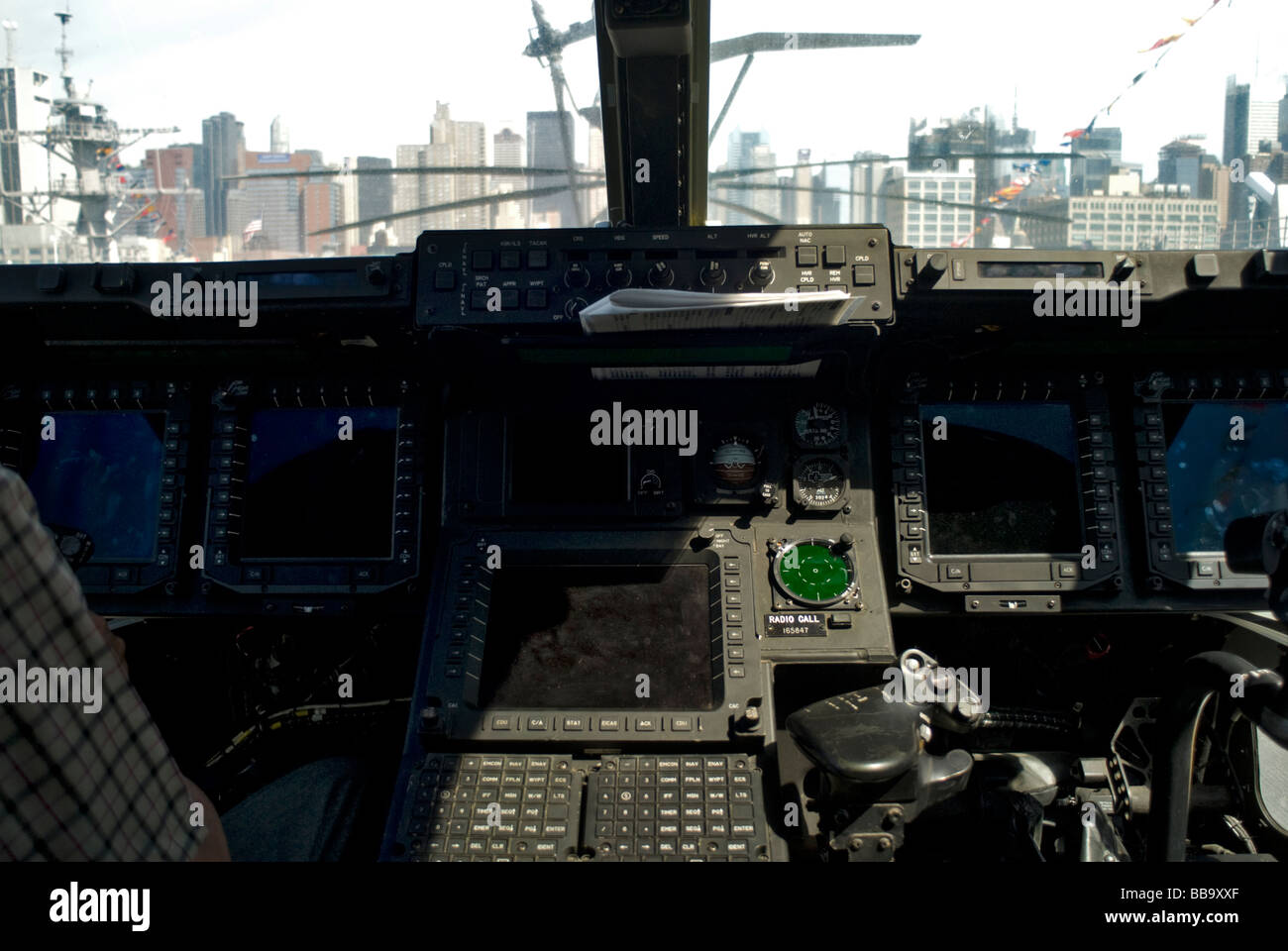 Multi-function displays inside U.S. Marines Bell-Boeing Osprey V-22 aircraft aboard the USS Iwo Jima docked in New - Stock Image