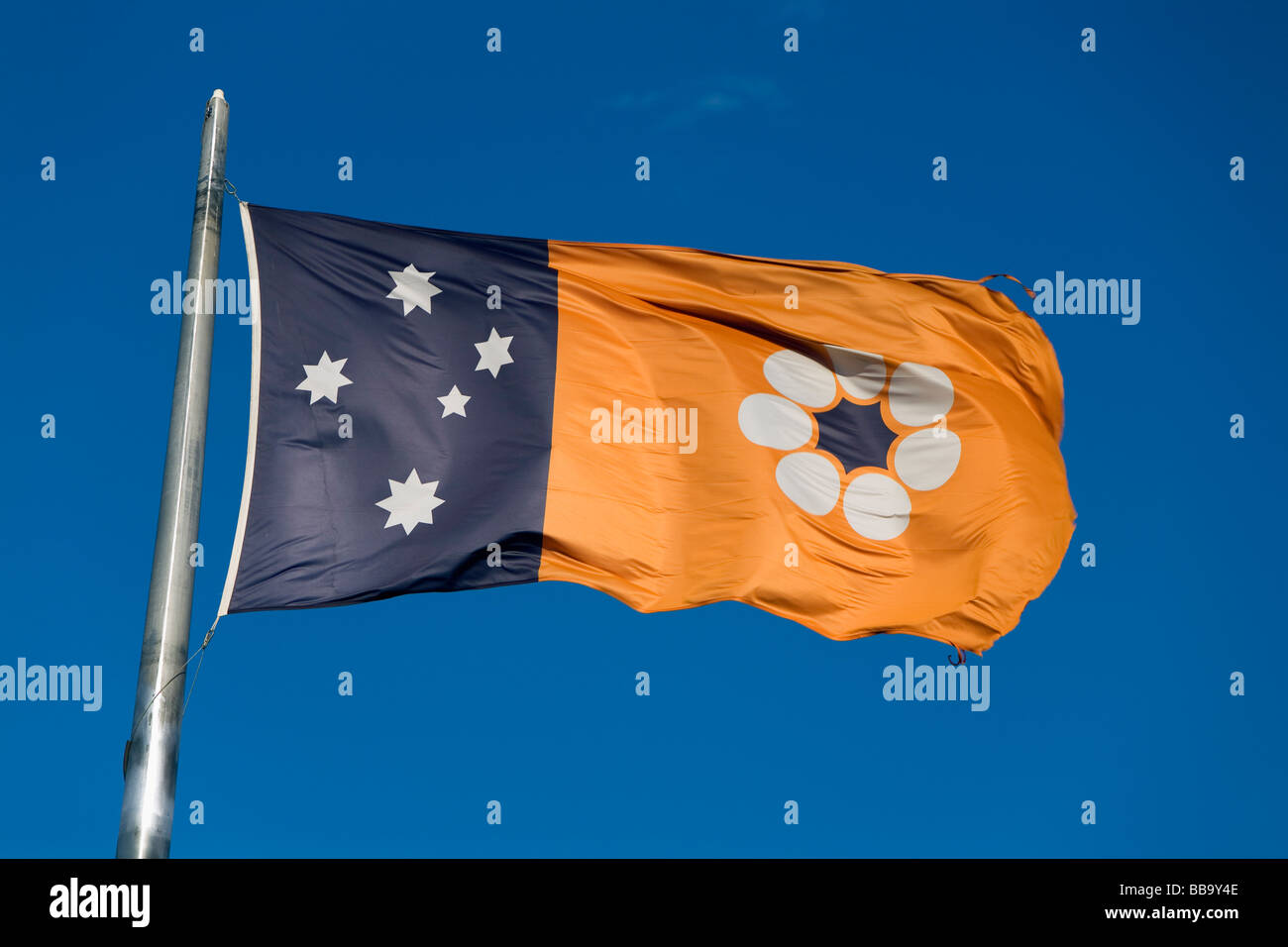 Northern Territory flag on Anzac Hill.  Alice Springs, Northern Territory, AUSTRALIA - Stock Image