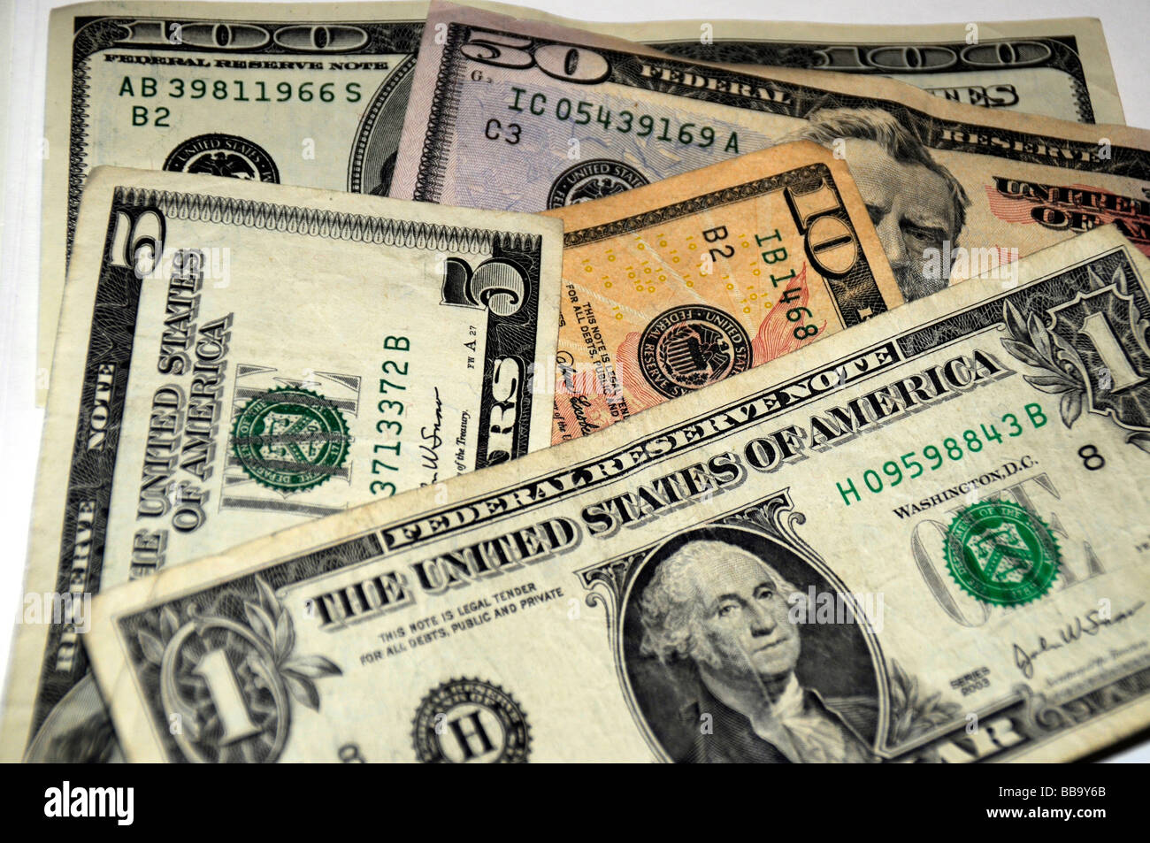 Assortment of US currency - Stock Image