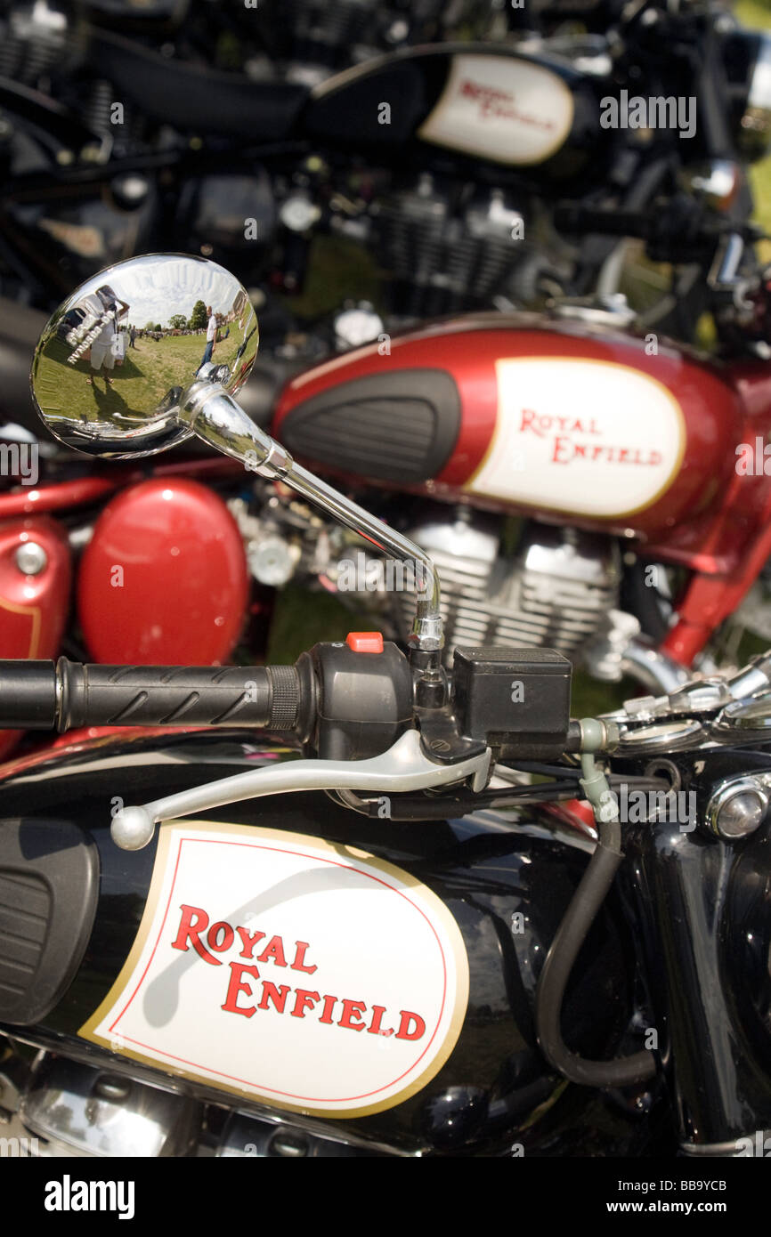 A line of Royal Enfield motorcycles - Stock Image