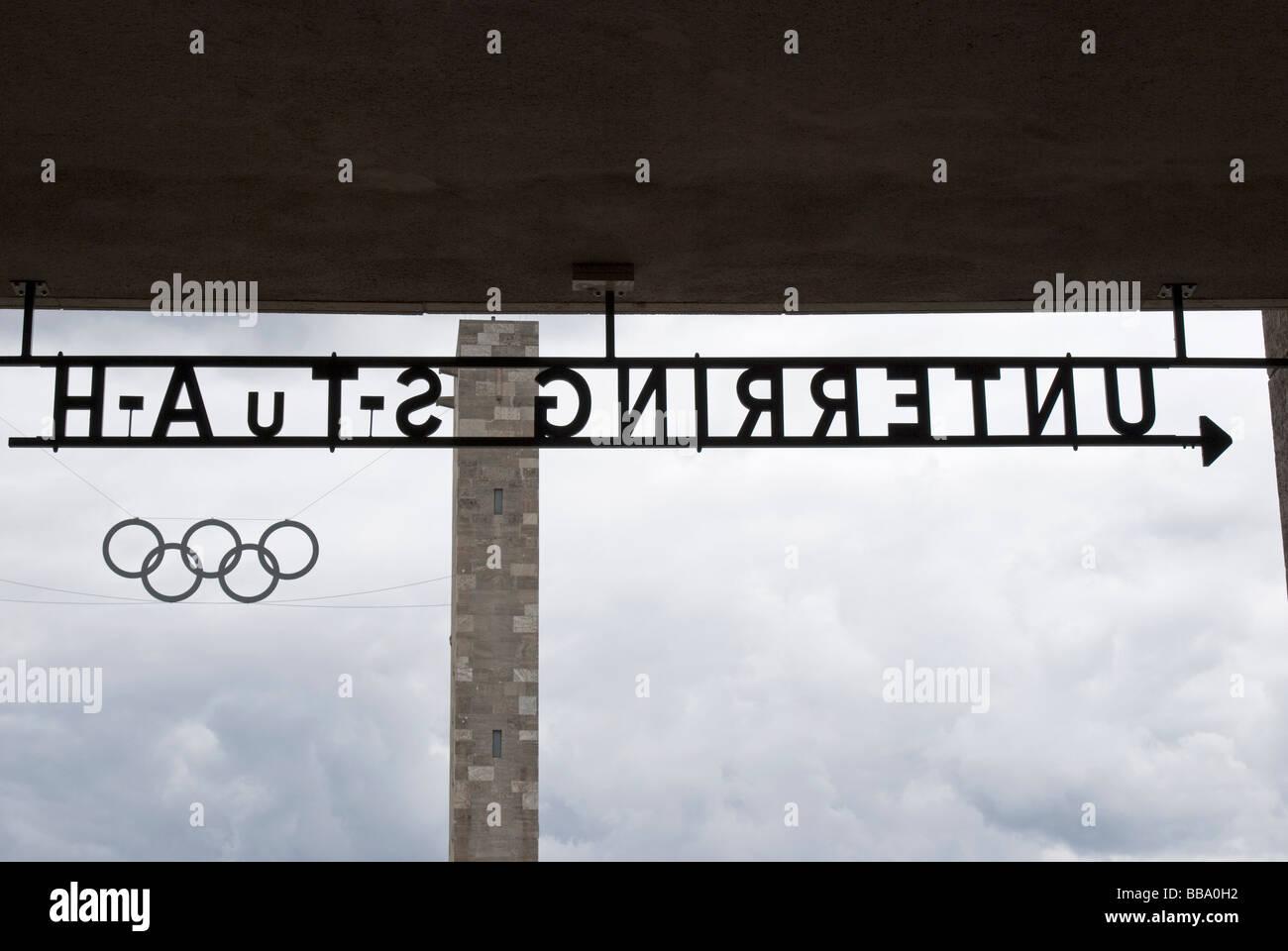 OLYMPIASTADION SIGNS BERLIN GERMANY - Stock Image