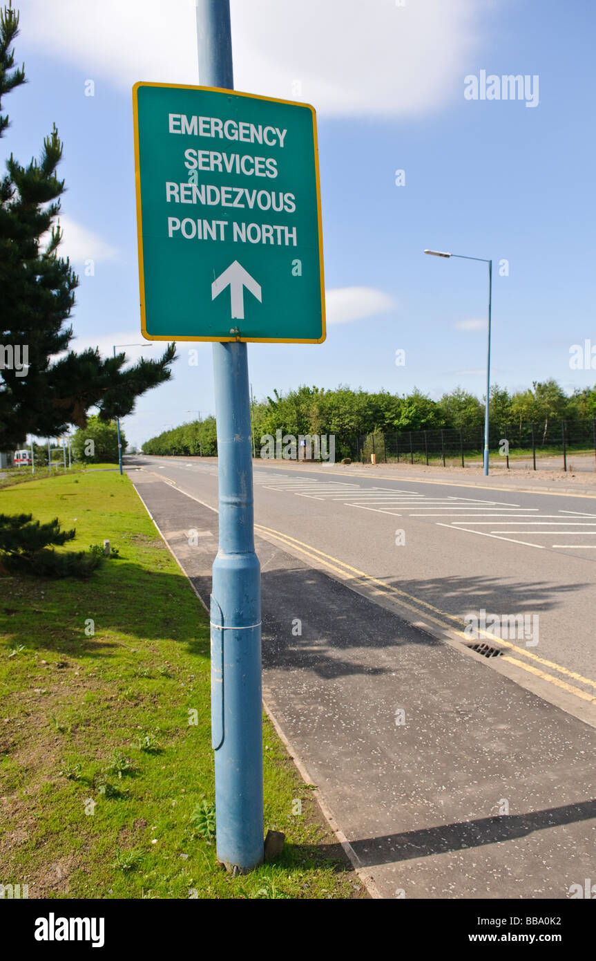 Road sign: Emergency Services Rendezvous Point North for Belfast City Airport - Stock Image