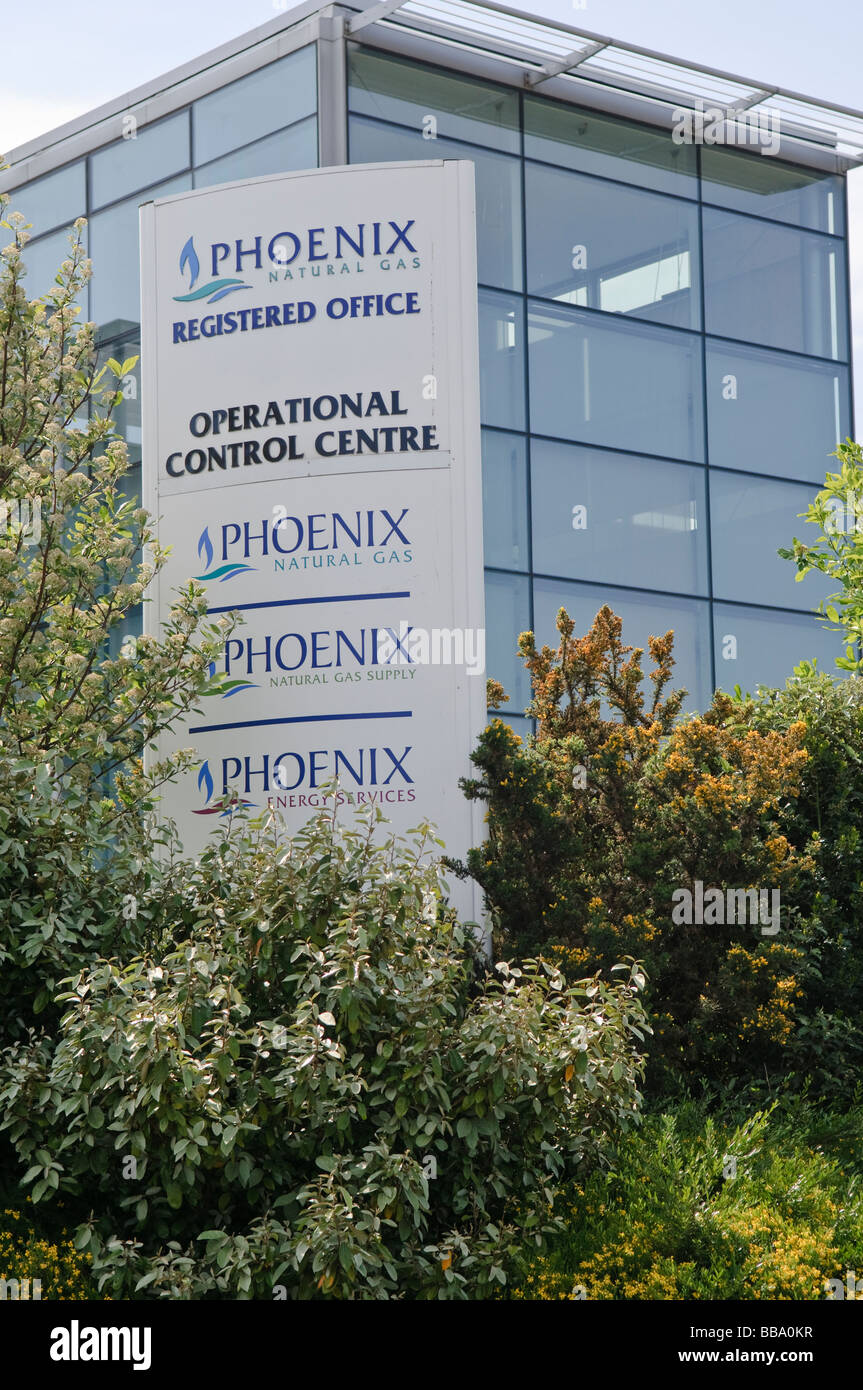 Sign at the Operational Control Centre for Phoenix Natural Gas in Belfast, Northern Ireland Stock Photo